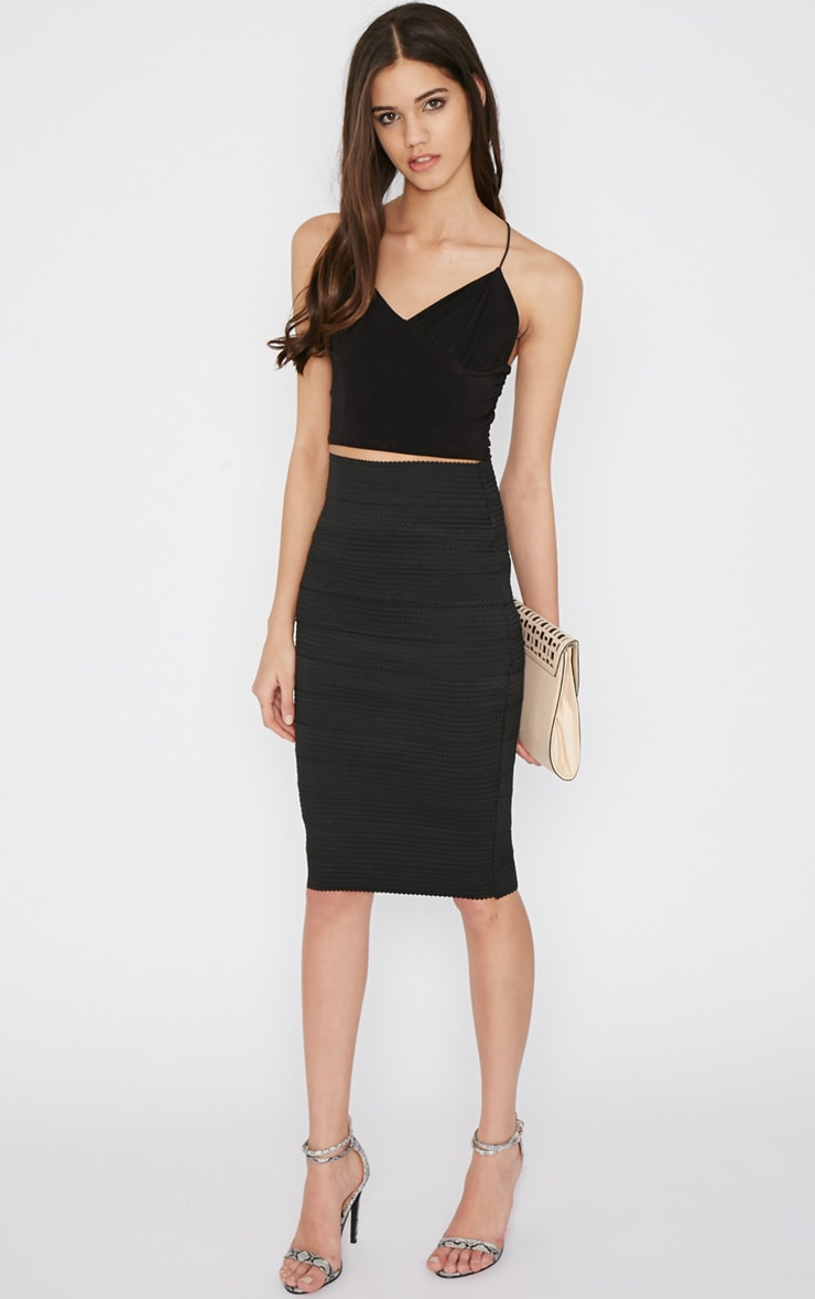 Lydie Black Bandage Midi Skirt 1