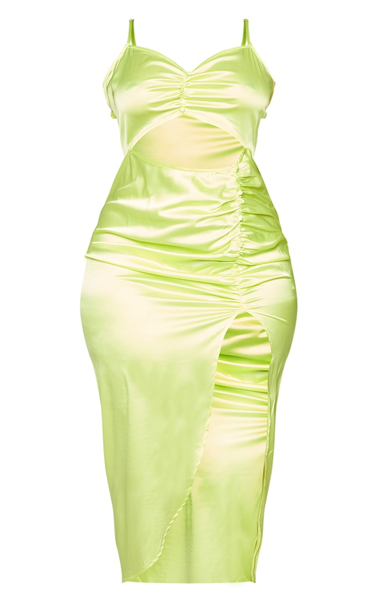 Plus Lime Satin Cut Out Ruched Midaxi Dress 5