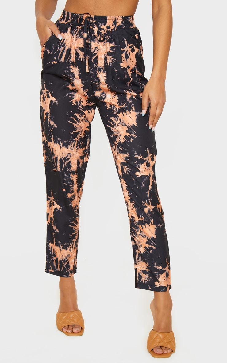 Black Tie Dye Woven High Waisted Straight Leg Pants 2