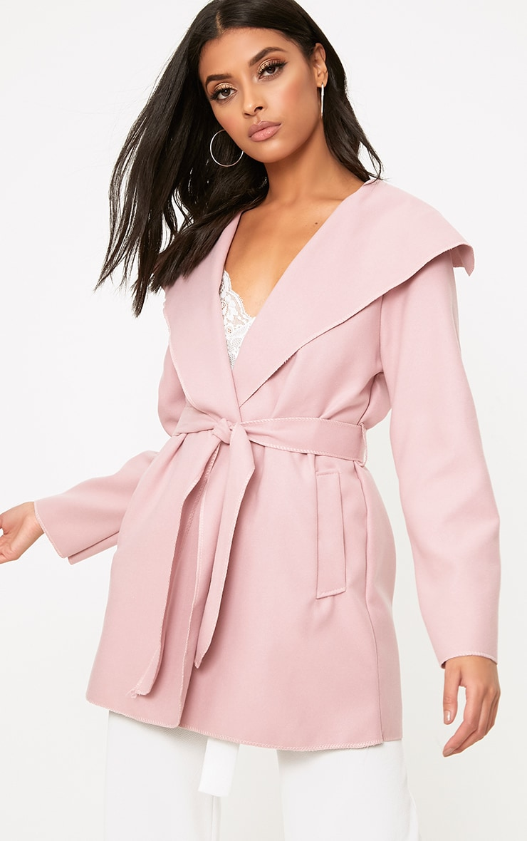 Pink Waterfall Belted Coat 1