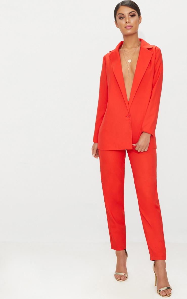 Red Oversized Woven Boyfriend Fit Blazer 4