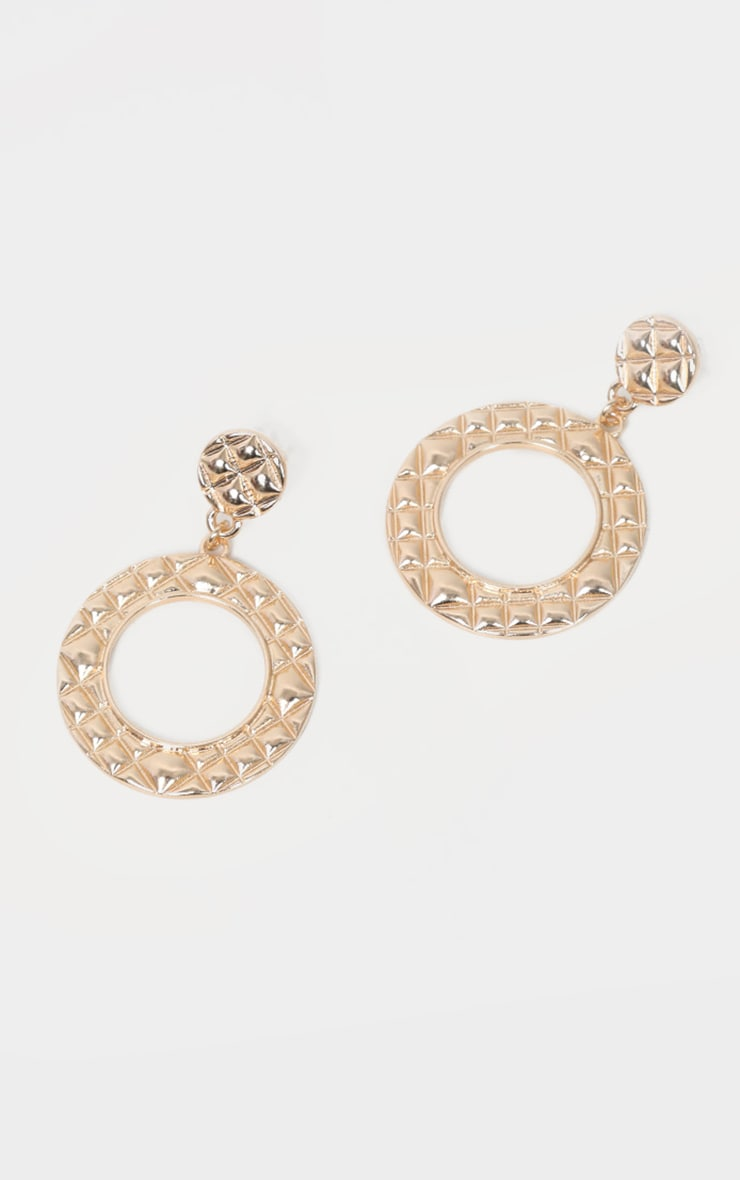 Gold Small Circle Drop Earrings 2