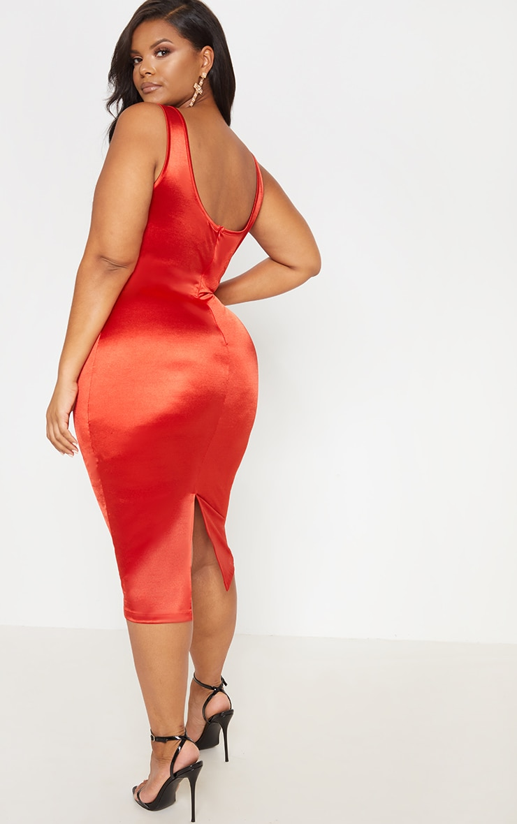 Red Satin Bustier Lace Insert Midi Dress 3