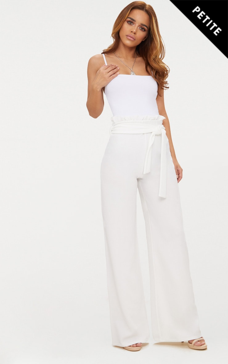 Petite White Paperbag Wide Leg Trousers
