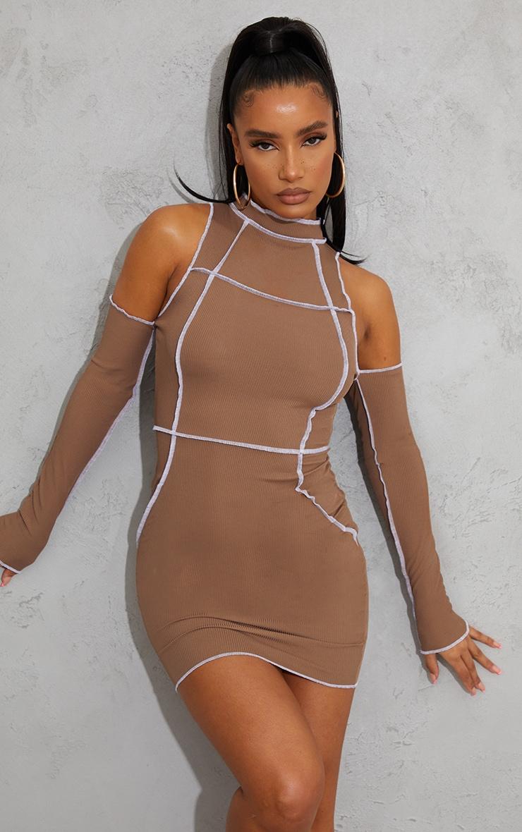 Taupe Ribbed Overlock Stitch Detail High Neck Bardot Bodycon Dress 1