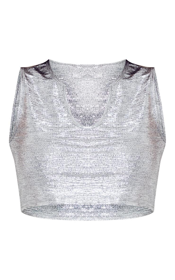 Silver Glitter V Crop Top 3