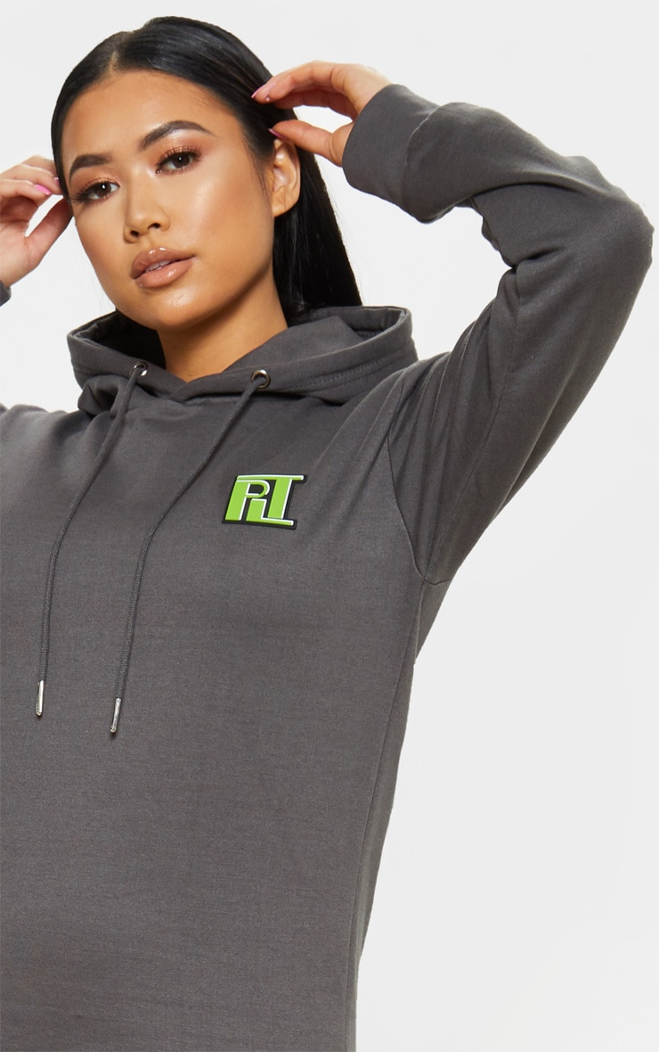 PRETTYLITTLETHING Petite Charcoal Slogan Oversized Hoodie 1