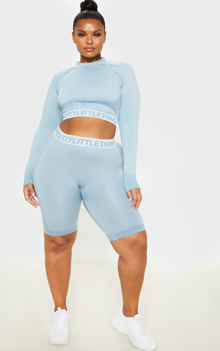 PRETTYLITTLETHING Plus Light Blue Seamless Long Sleeve Crop Top  4