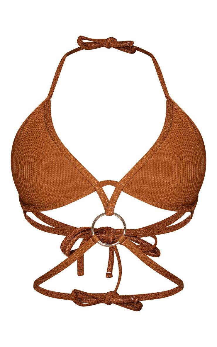 Brown Underwired Ribbed Ring Bikini Top 6