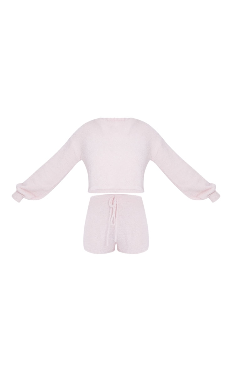 Pale Pink Chenille Balloon Sleeve Sweater And Shorts Lounge Set 5
