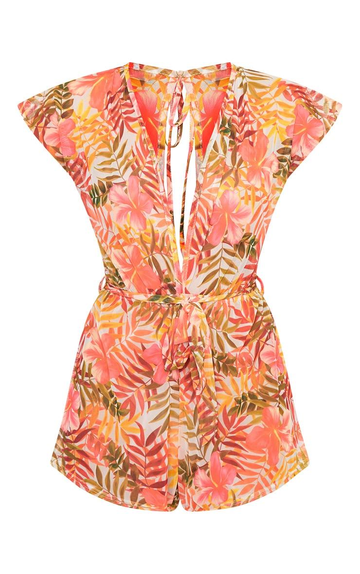 Hawaiian Flower Print Beach Playsuit  3