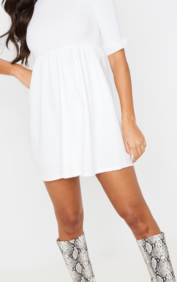 White Frill Sleeve Detail Rib Smock Dress 5