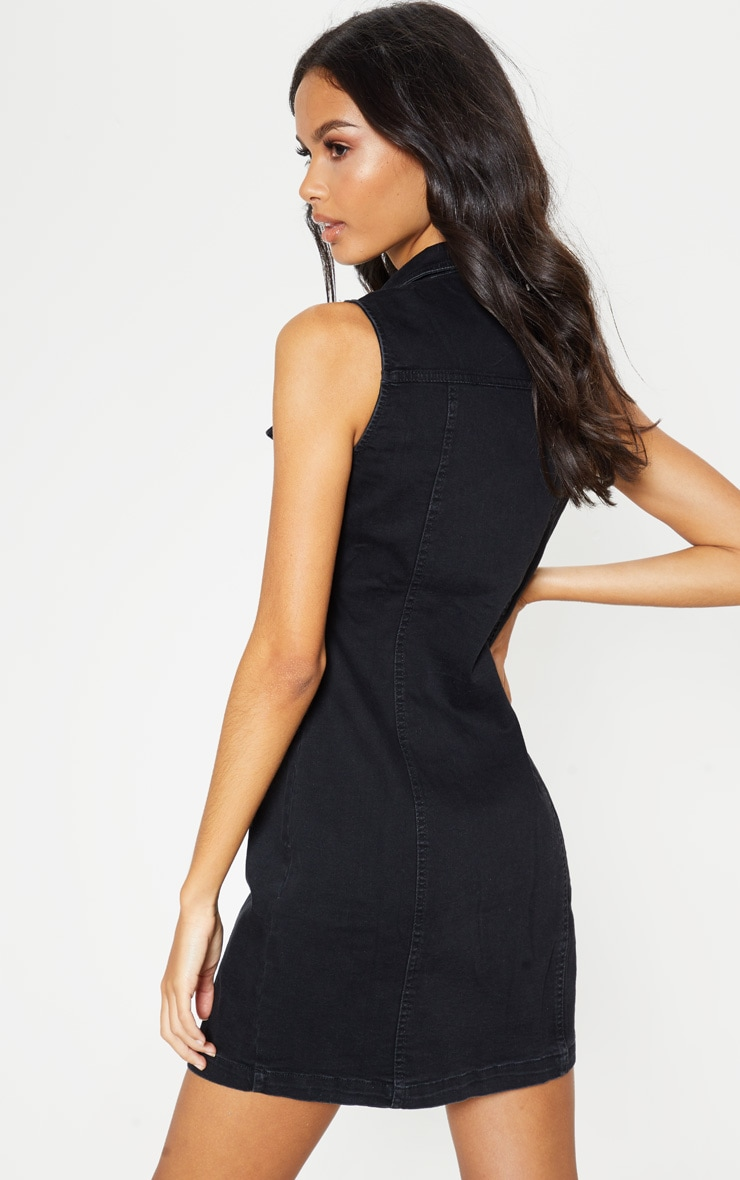 Black bodycon dress with denim jacket on top love culture