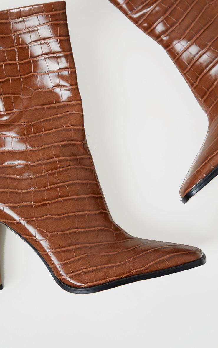 Tan PU Snake Flat Heeled Ankle Boots 4