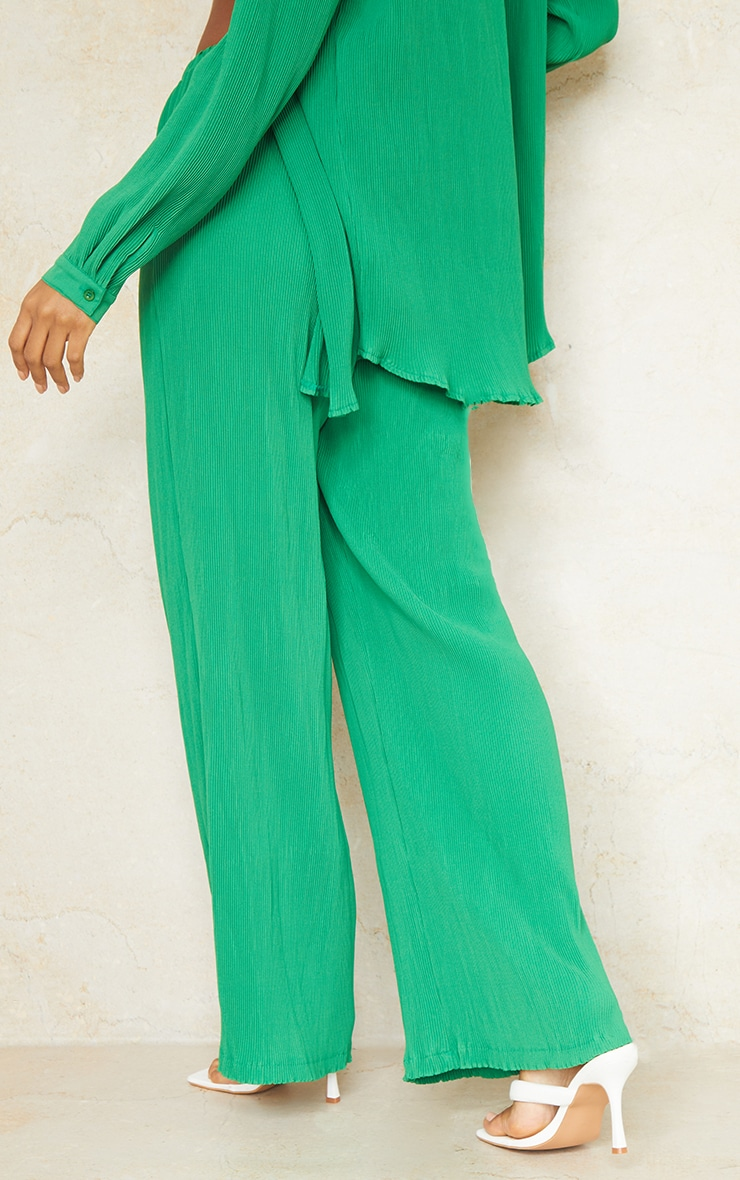 Bright Green Plisse High Waisted Wide Leg Trousers 3