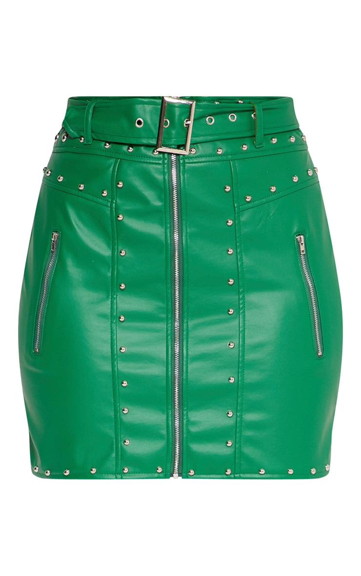 Green Faux Leather Stud Detail Belted Mini Skirt 3