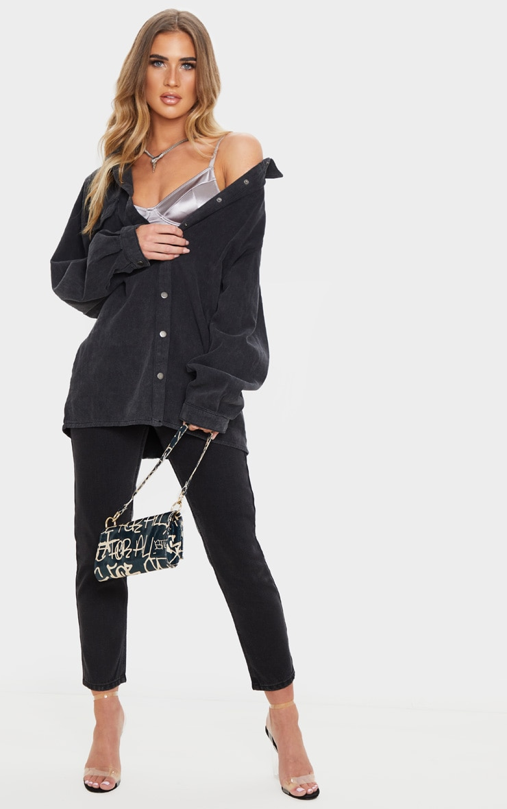 Washed Black Denim Oversized Popper Button Boyfriend Shirt 1