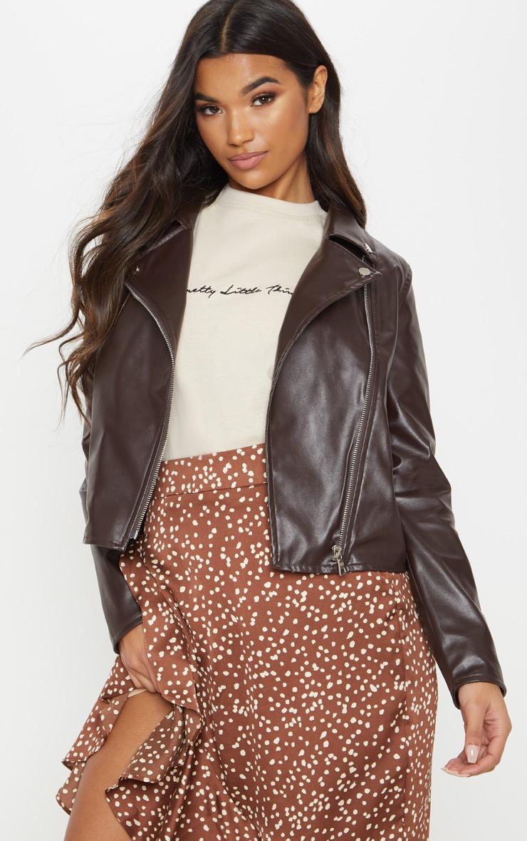 Chocolate Brown PU Biker Jacket  1