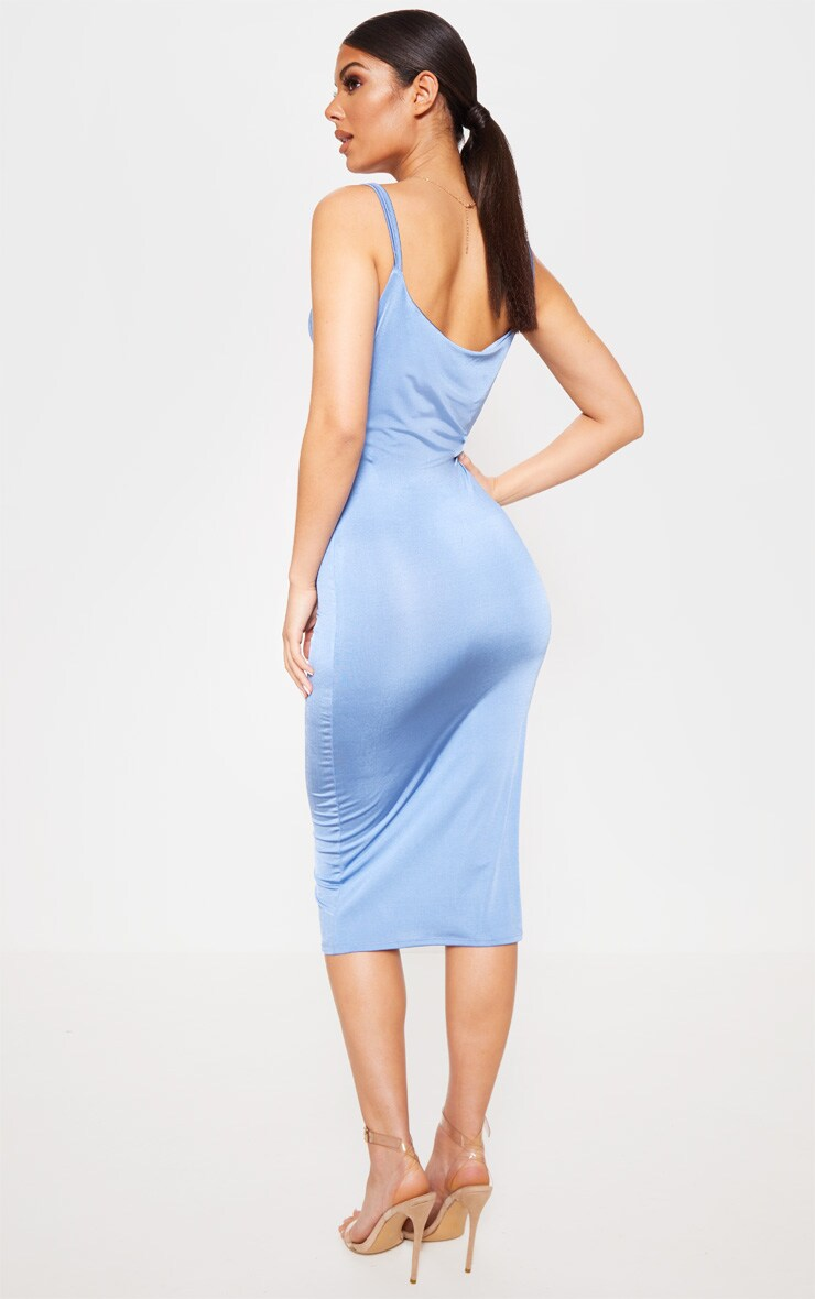 Blue Slinky Cut Out Centre Cowl Neck Bodycon Dress 2