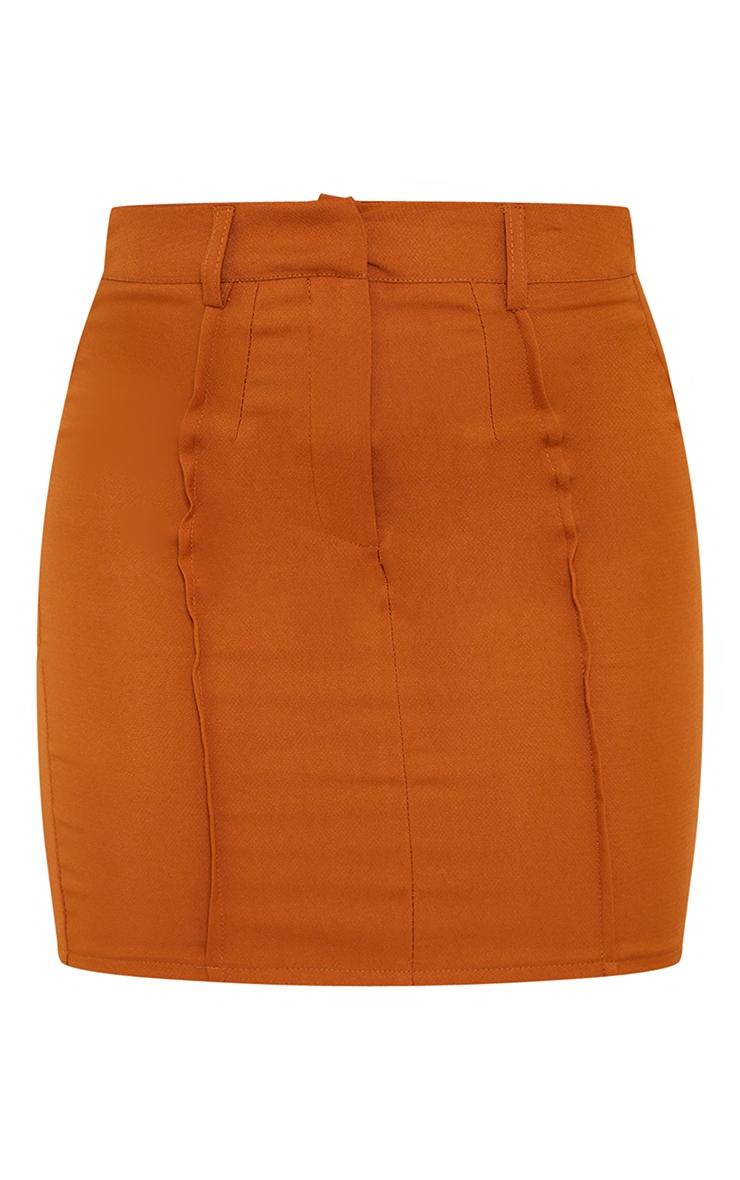 Rust Woven Seam Detail Mini Skirt 6
