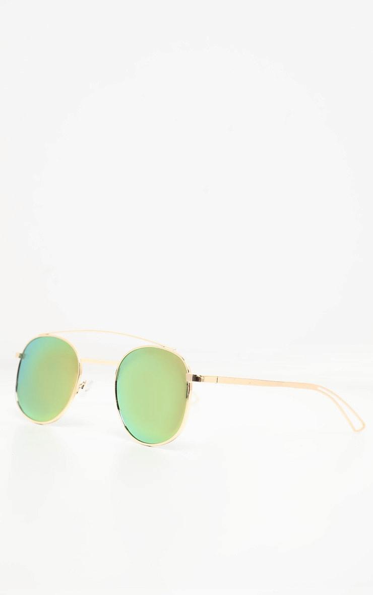 Rose Gold Revo Alloy Metal Top Bar Aviator Sunglasses 2