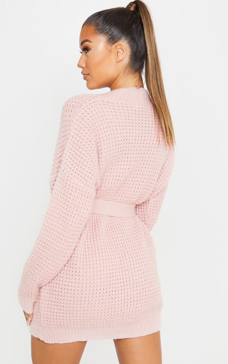 Pale Pink Soft Touch Belted Knitted Sweater Dress 2