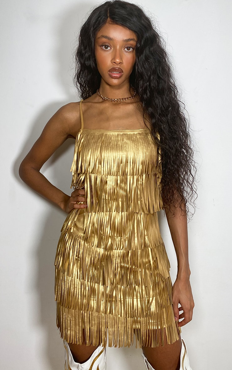 Gold Faux Leather Fringed Detail Strappy Bodycon Dress 3