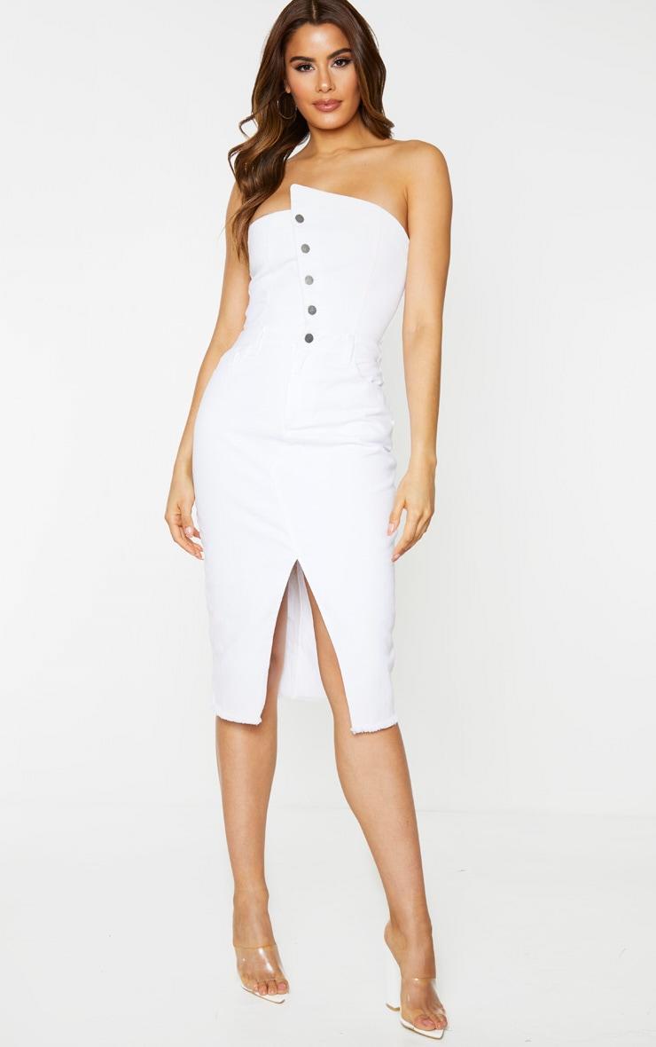 Tall -  Robe en jean mi-longue blanche asymétrique 1