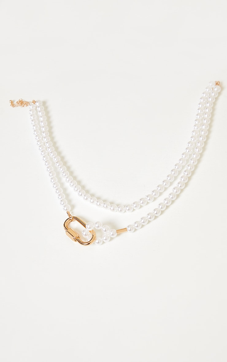 White Pearl Gold Clasp Double Layering Necklace 3