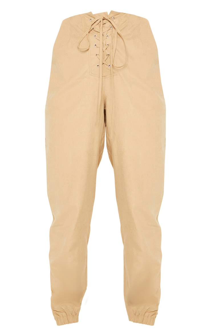 Stone Faux Suede Lace Up Joggers  2
