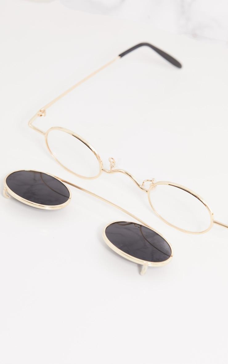 Gold Frame Black Lens Small Oval Flip Sunglasses 5