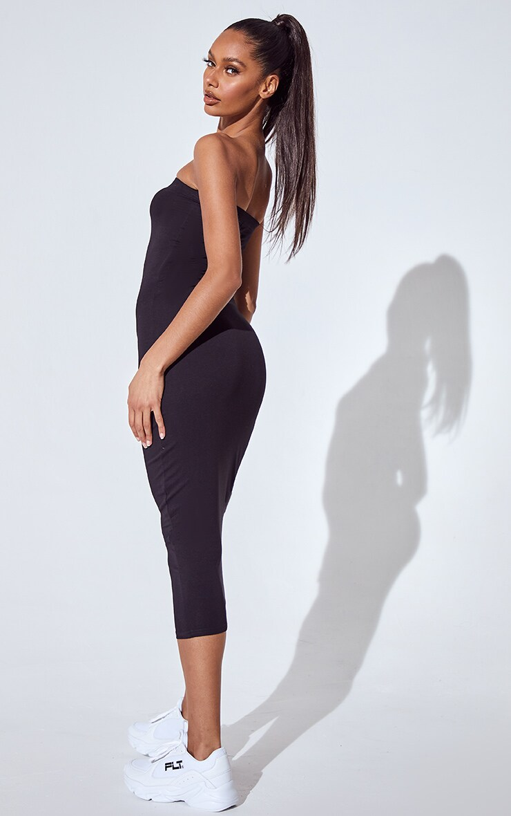 Basic Basic Black Cotton Blend Bandeau Midaxi Dress 2