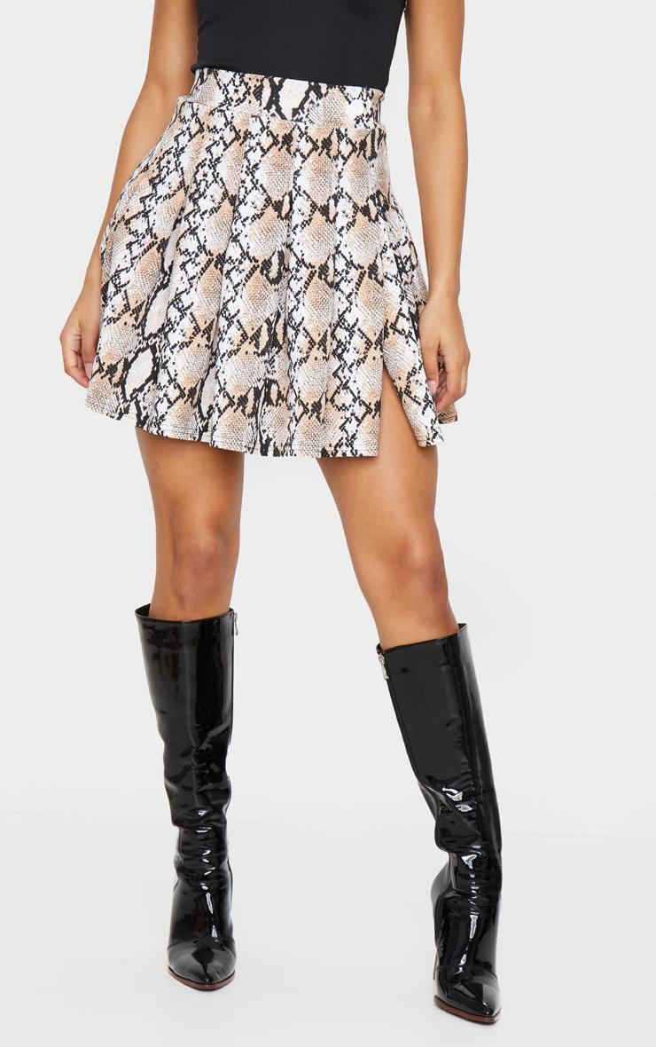 Grey Snake Print Tennis Side Split Skirt 2