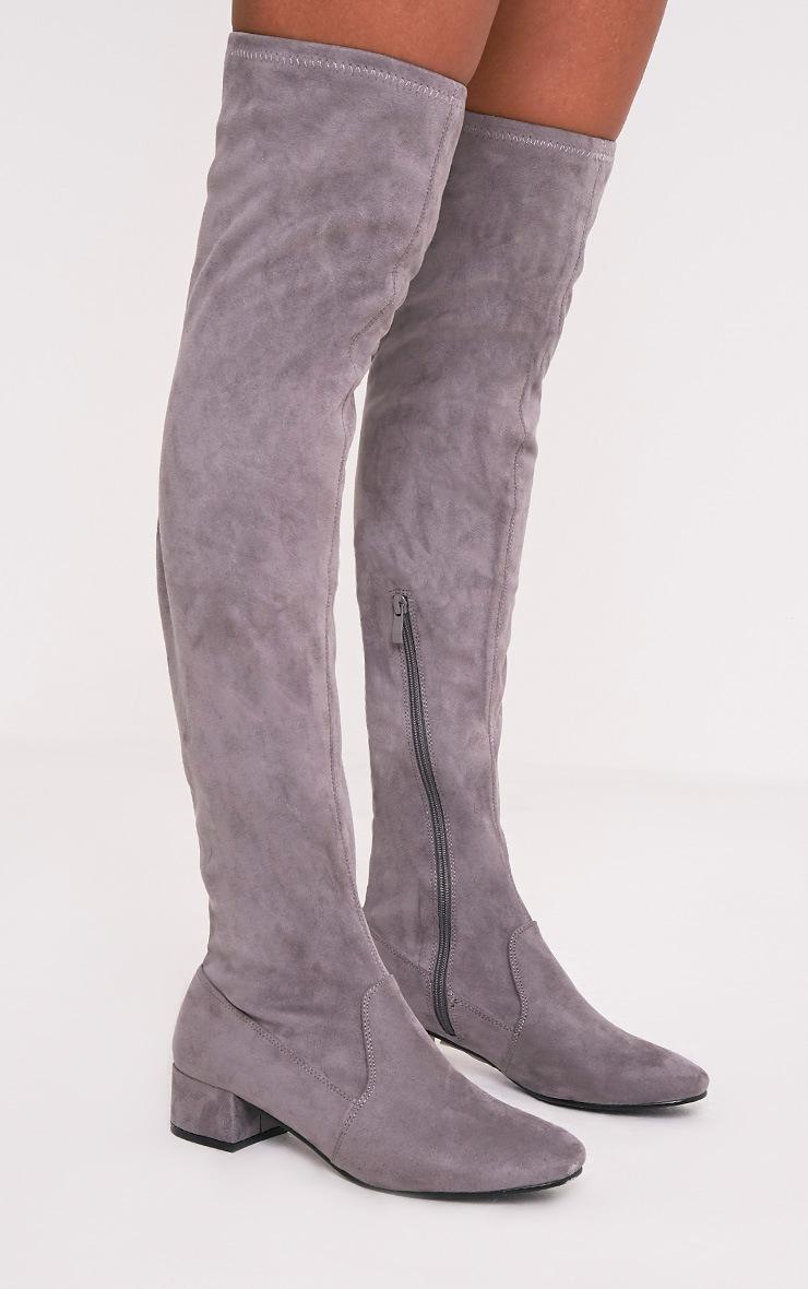 Esmay bottes cuissardes grises imitation daim 2
