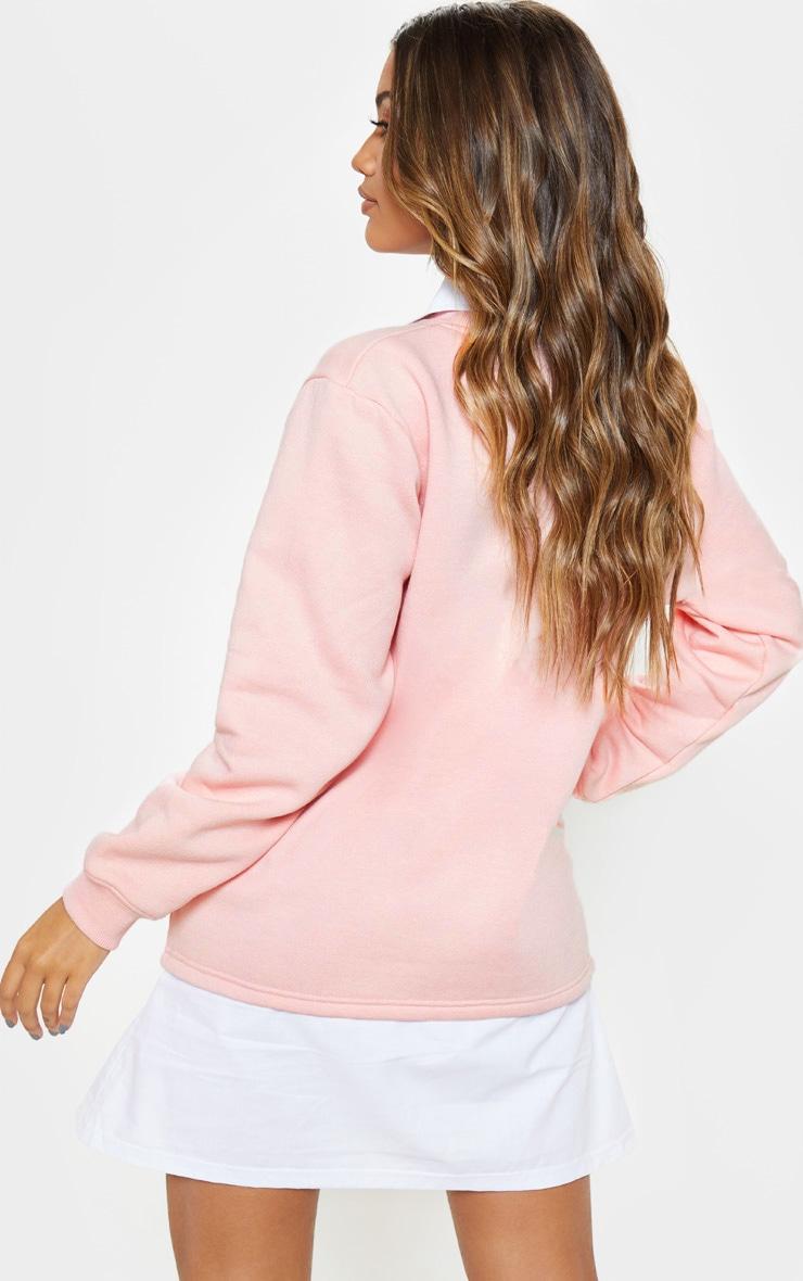 Baby Pink Shirt Collar Sweat Jumper Dress 2