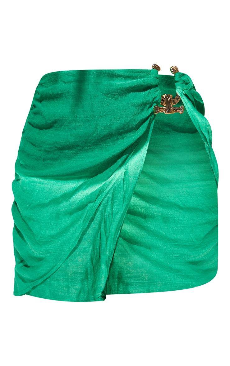 Green Linen Look Hammered Trim Beach Skirt 6