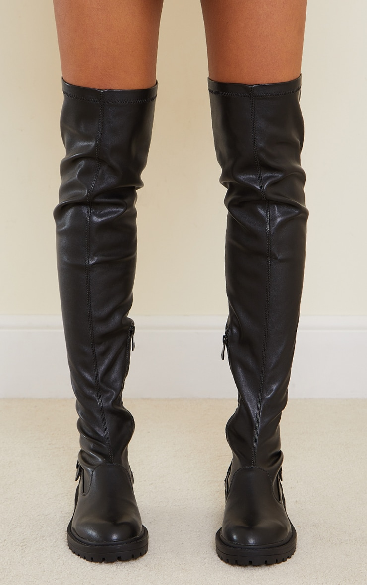 Black PU Buckle Detail Chunky Over The Knee Boots 4