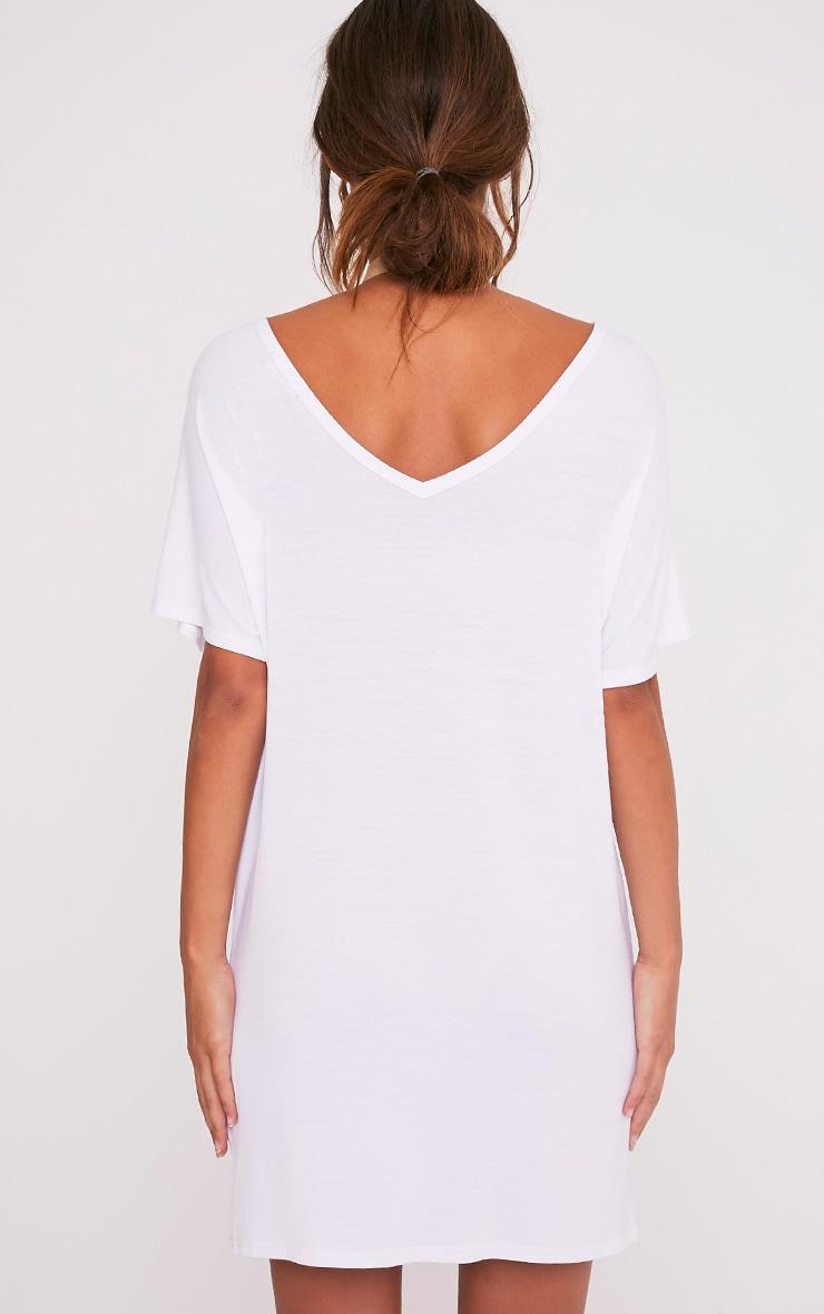 Basic White V Neck T Shirt Dress 2