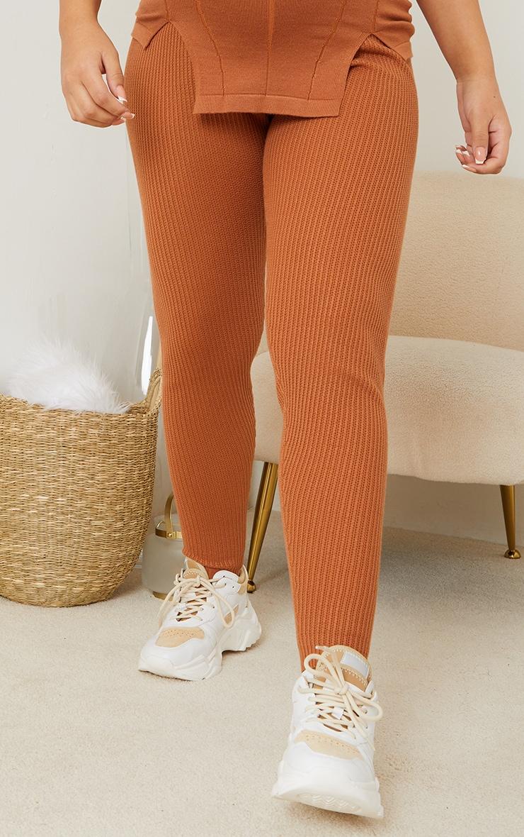 Maternity Tan Bump Shaping Knitted Wide Rib Leggings 2