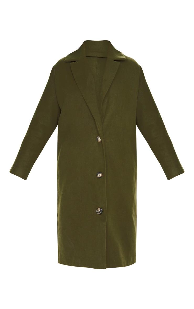 Khaki Boyfriend Oversized Midi Coat 3