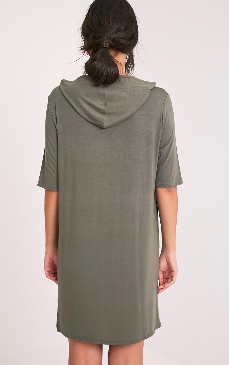 Abbie Khaki Short Sleeve Hooded T Shirt Dress 1
