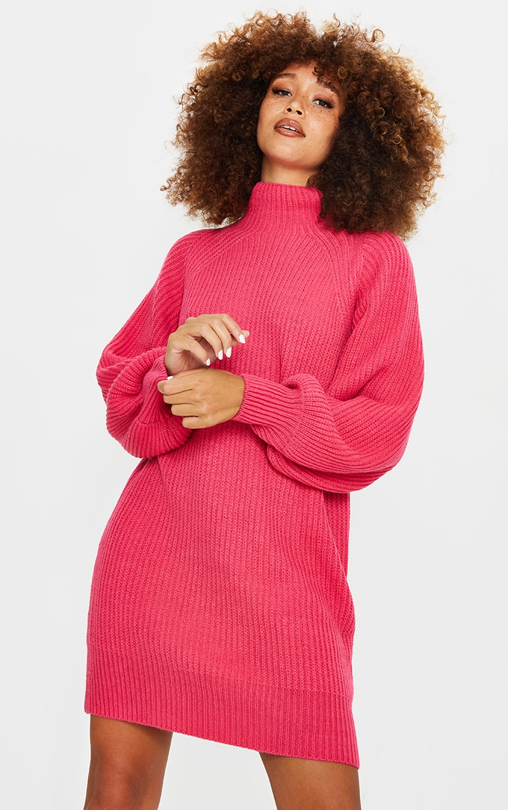 Pink Balloon Sleeve Funnel Neck Sweater Dress 1