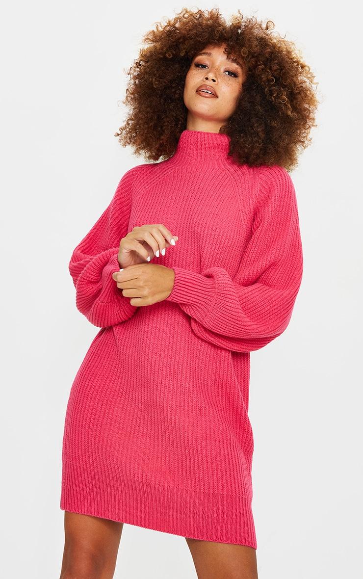 Pink Balloon Sleeve Funnel Neck Jumper Dress 1