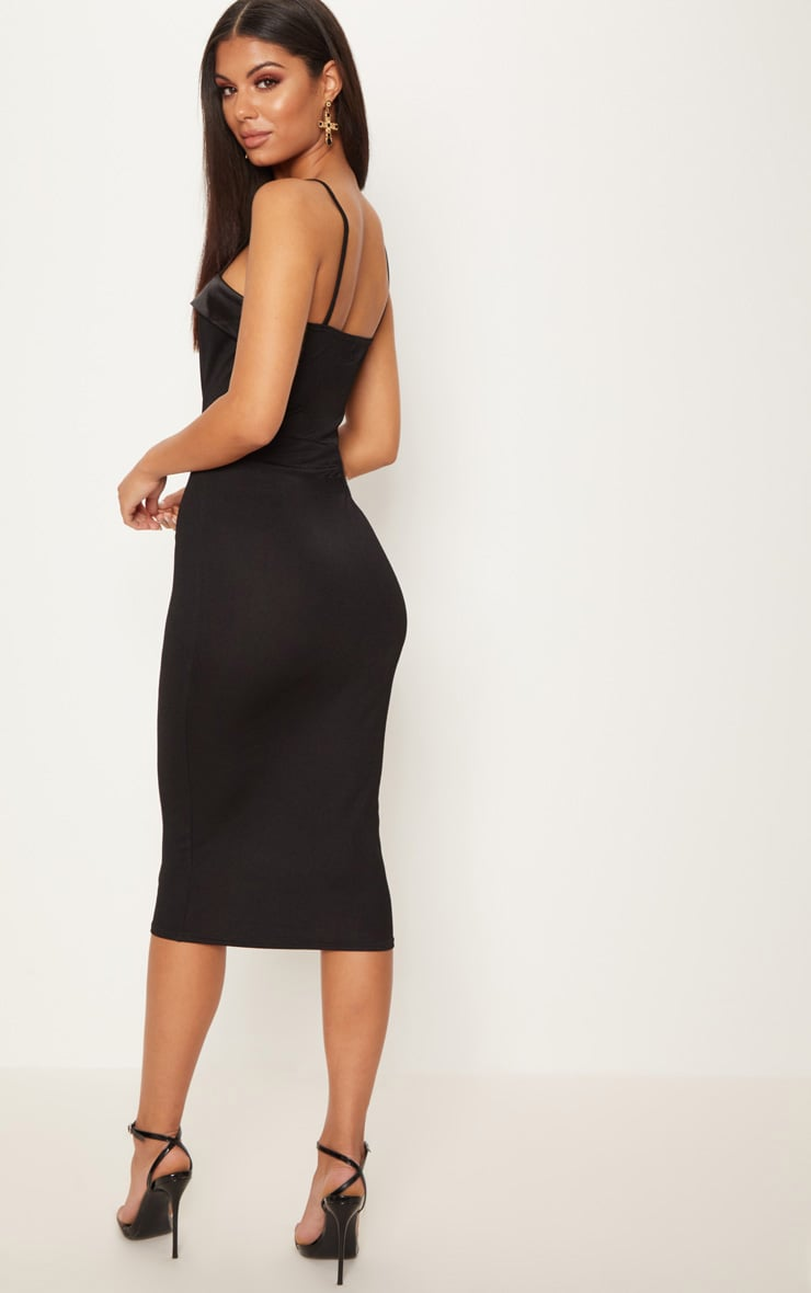 Black Strappy Satin Lapel Bodycon Midi Dress 2