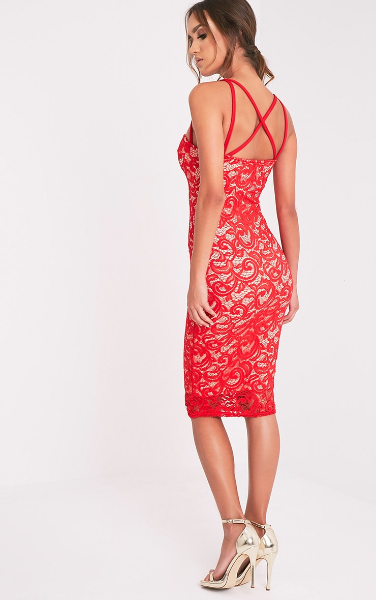 Mayley Red Lace Harness Detail Midi Dress 3