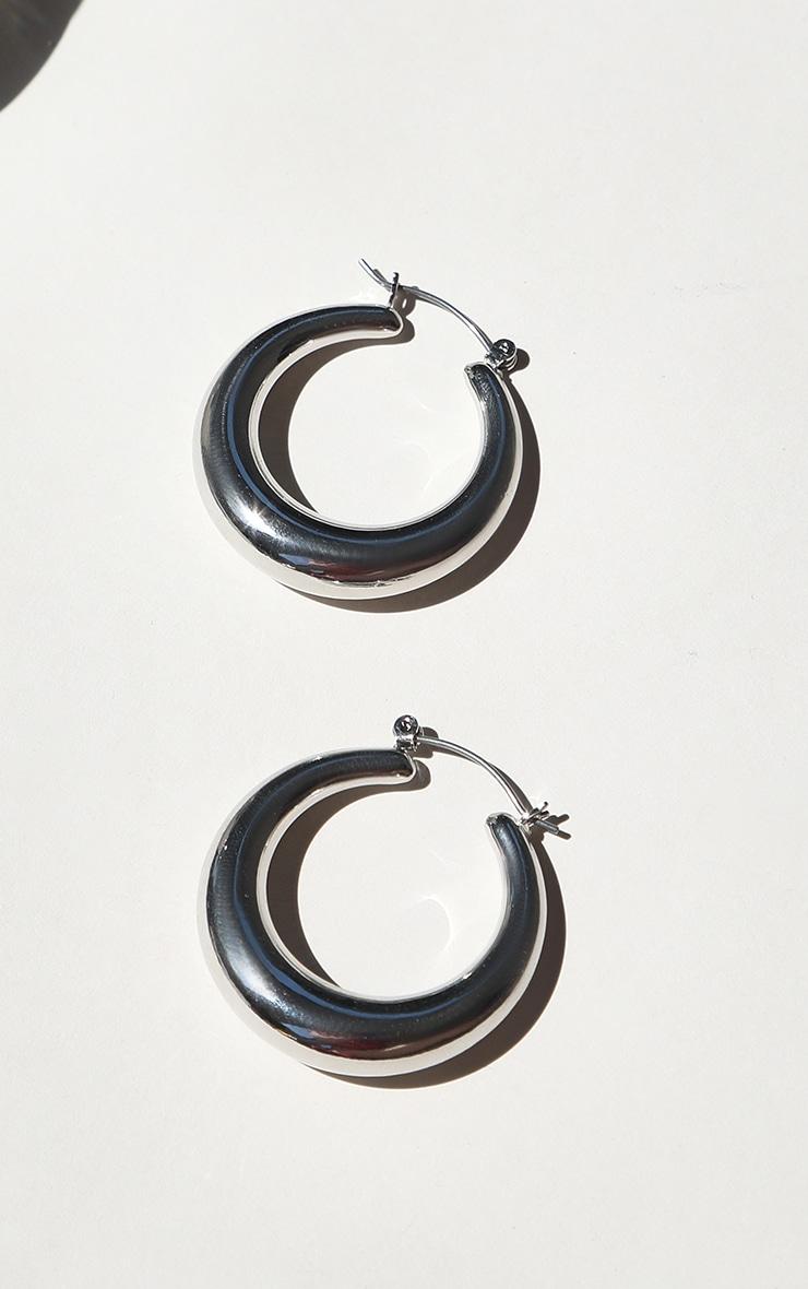 Silver Hoop Chunky Earrings 1