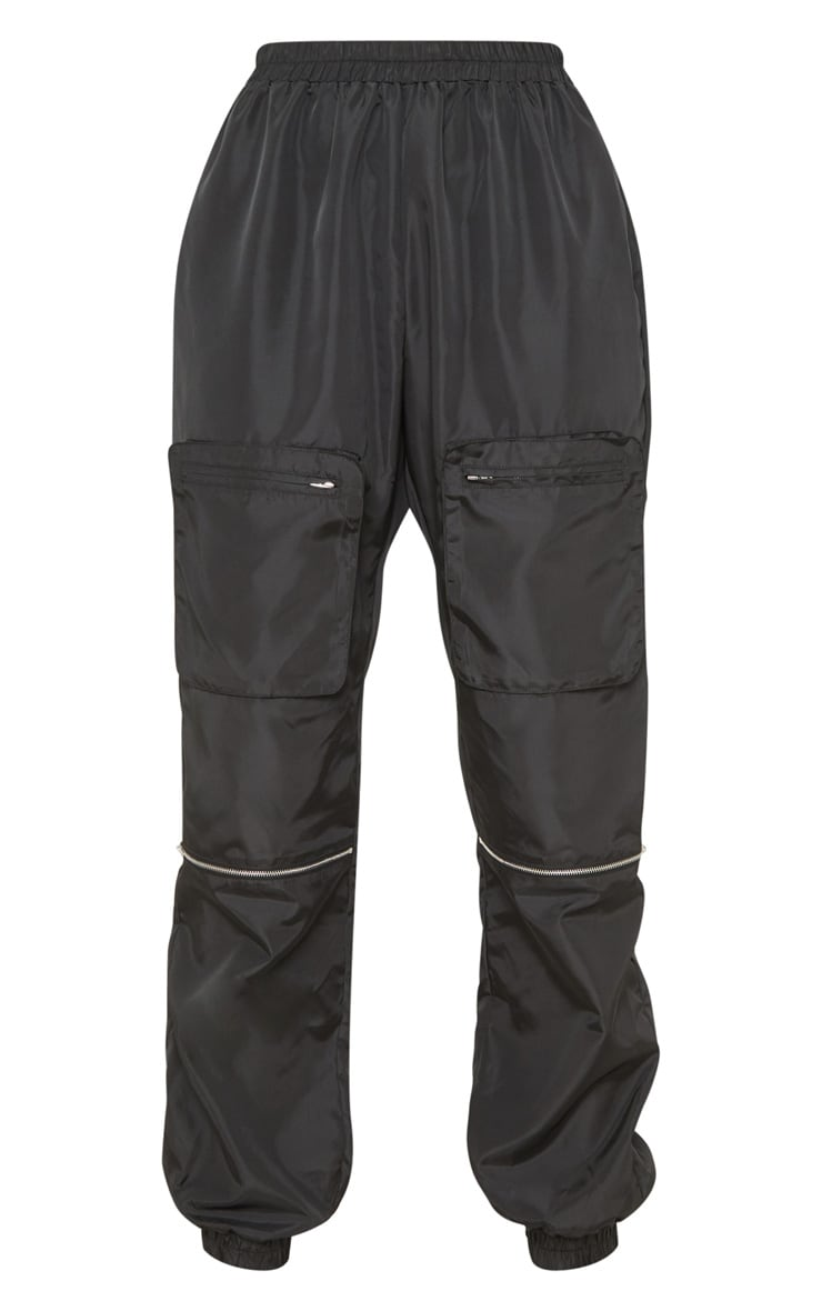 Tall Black Cargo Zip Pocket Detail Pants 3