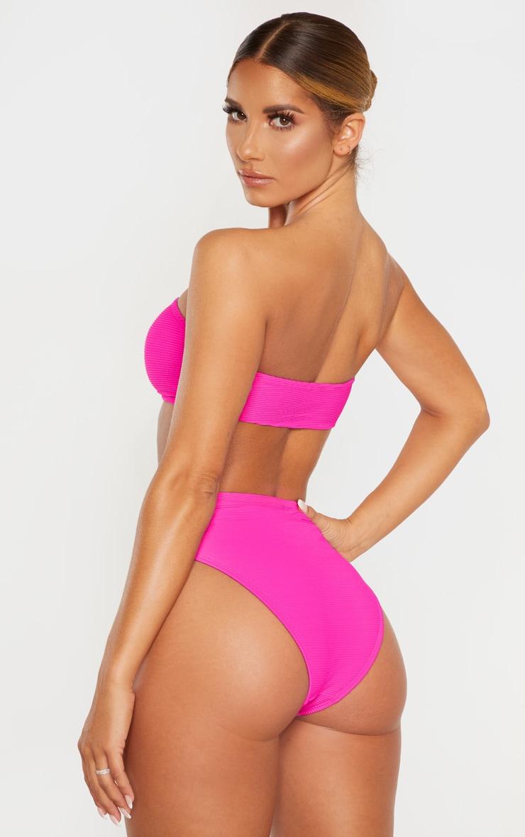 Haut de bikini bandeau magenta côtelé 2