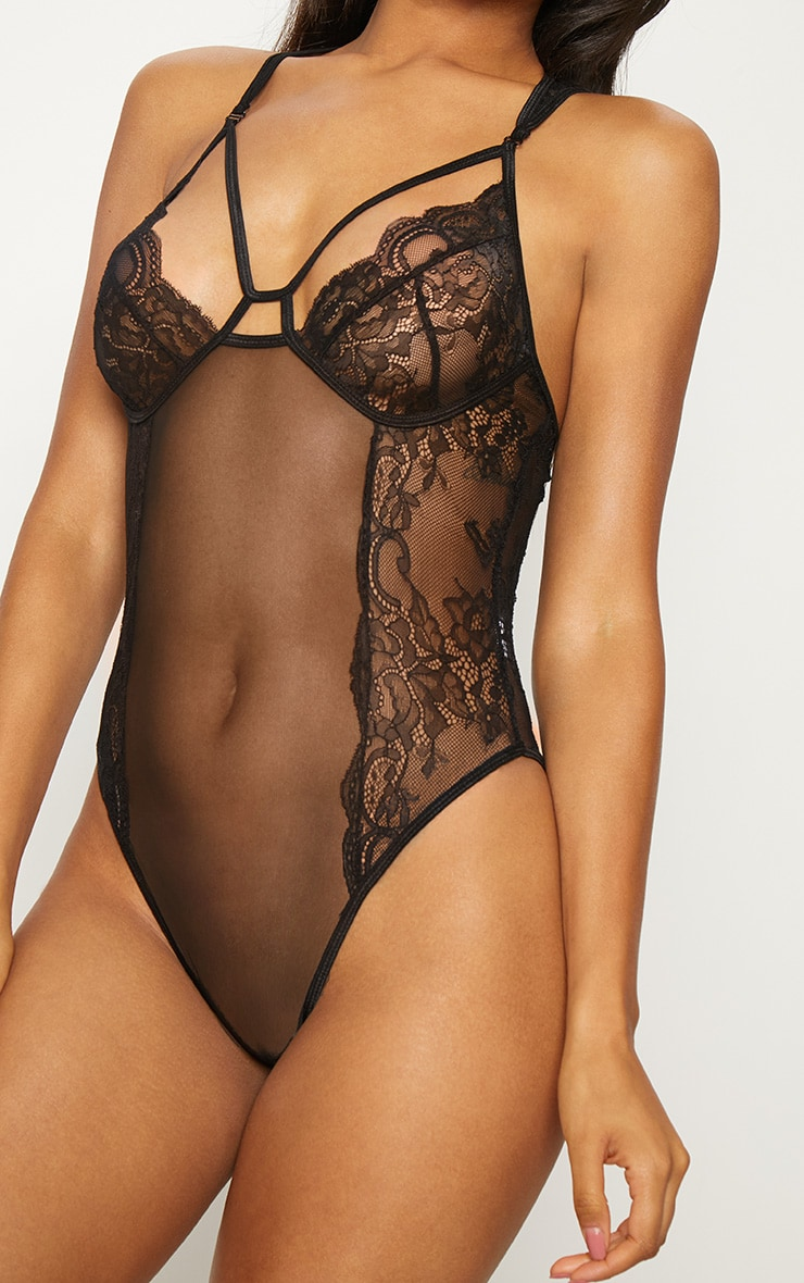 Black Mesh Insert Cut Out Cup Body 5