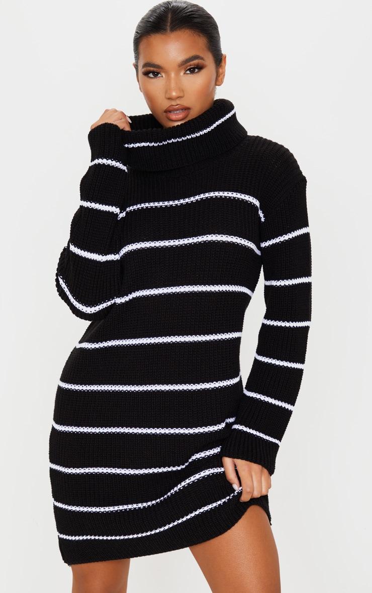 Black Narrow Stripe Knitted Jumper Dress 1